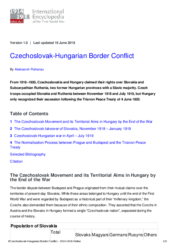 PDF) Czechoslovak-Hungarian Border Conflict, 1918–1920 | Aliaksandr