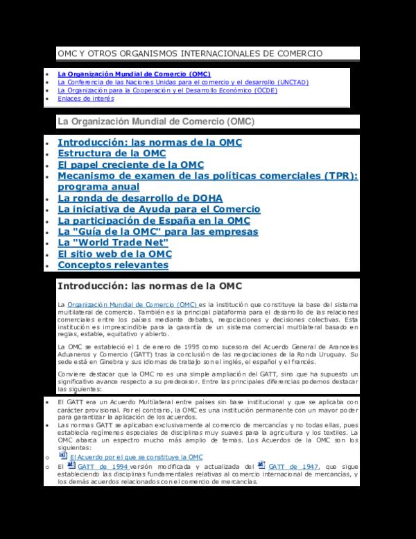 Doc Omc Y Otros Organismos Internacionales De Comercio