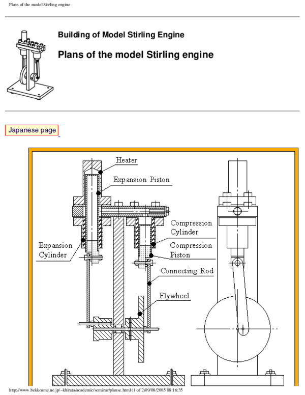 PDF) Plans of the model Stirling engine Plans of the model
