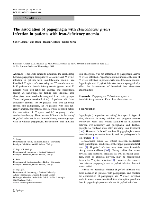 PDF) The association of pagophagia with Helicobacter pylori