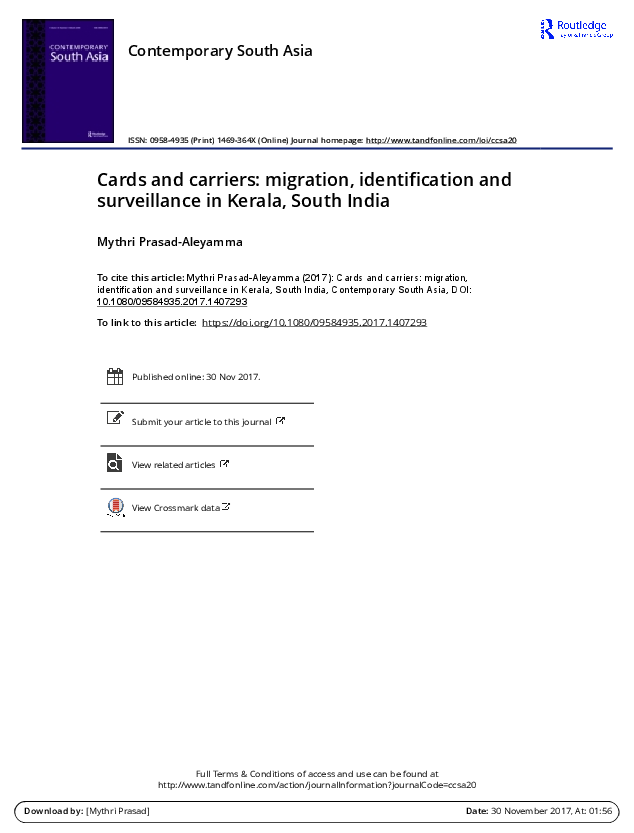 PDF) Cards and carriers: Migration, Identification and Surveillance