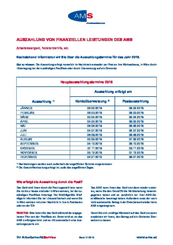 Auszahlungstermine 2020 Ams