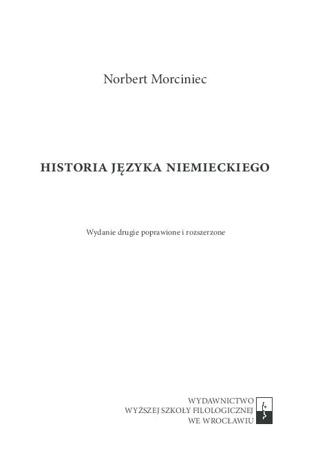 Pdf Historia Języka Niemieckiego Wydanie Drugie Tekst