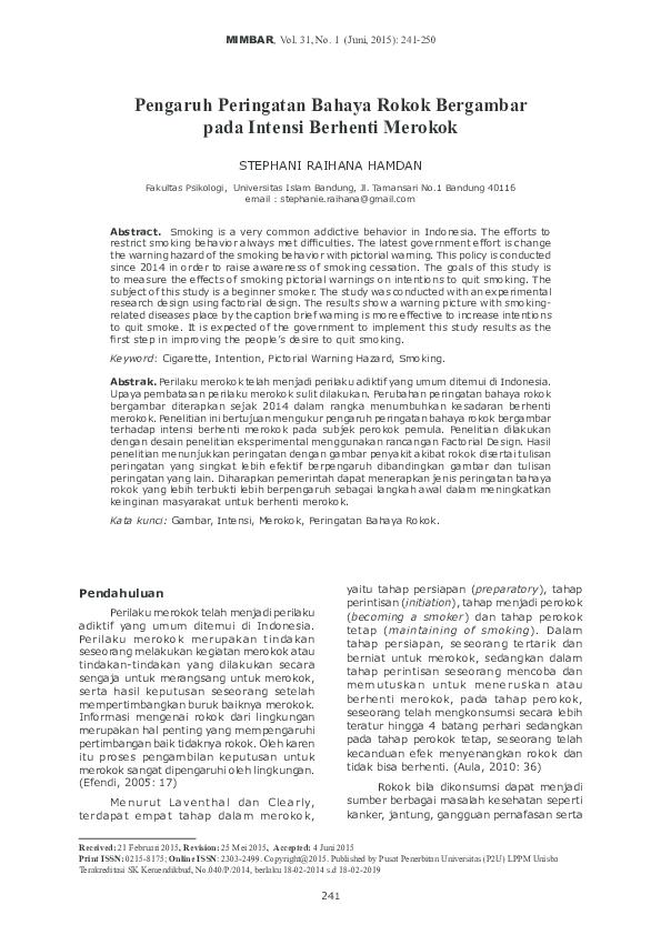 PDF) Pengaruh Peringatan Bahaya Rokok Bergambar pada Intensi