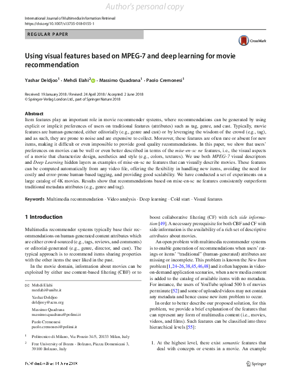 Pdf Using Visual Features Based On Mpeg 7 And Deep Learning For Movie Recommendation Mehdi Elahi Academia Edu