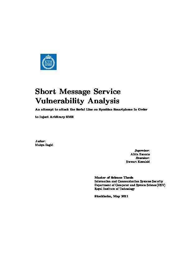 PDF) Short Message Service (SMS) Vulnerability Analysis   Amir IrIsT