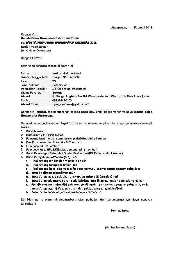 Doc Contoh Format Surat Lamaran Cv Surat Pernyataan