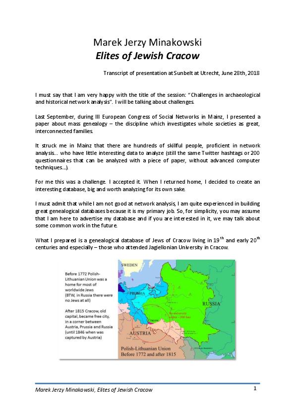 PDF) Elites of Jewish Cracow (Paper presented at Sunbelt2018