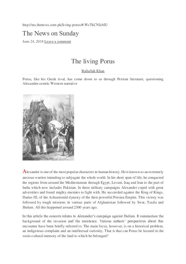 PDF) The living Porus | Rafiullah Khan - Academia edu