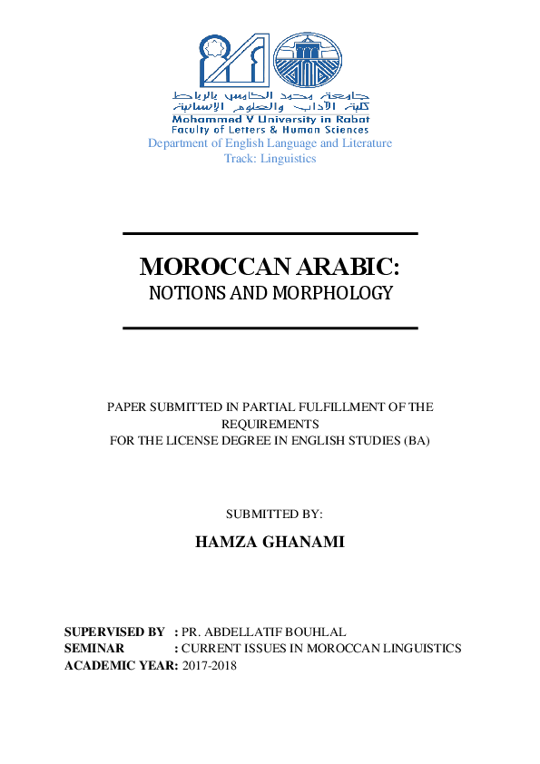 PDF) MOROCCAN ARABIC: NOTIONS AND MORPHOLOGY | Hamza Ghanami