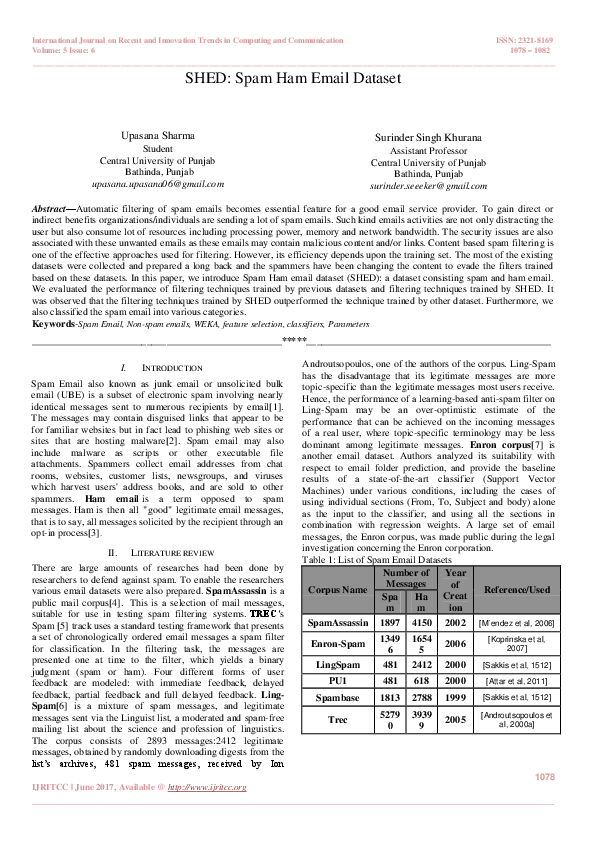 PDF) SHED: Spam Ham Email Dataset | International Journal