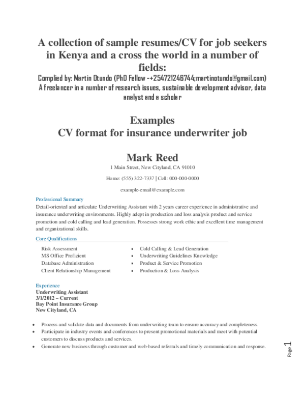 DOC) A collection of sample resumes/CV for job seekers in ...