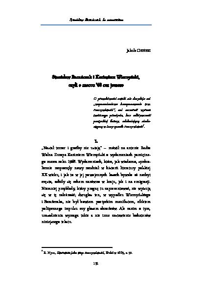 Pdf Stanisław Barańczak I Kazimierz Wierzyński Czyli O