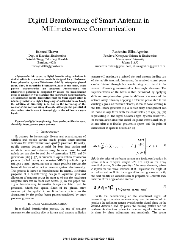 PDF) Digital Beamforming of Smart Antenna in Millimeterwave