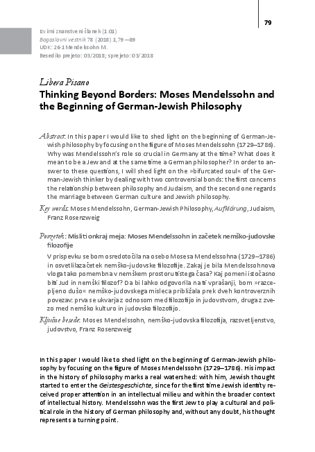 PDF) Thinking Beyond Borders: Moses Mendelssohn and the