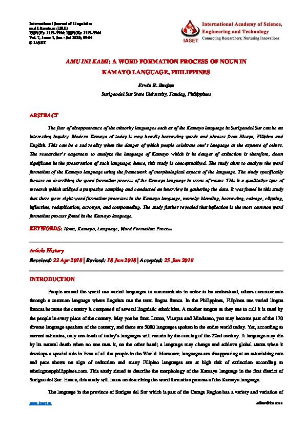 PDF) AMU INI KAMI: A WORD FORMATION PROCESS OF NOUN IN KAMAYO