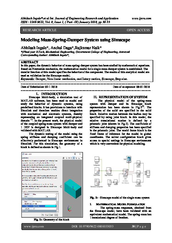 45f0e0fa69 PDF) Modeling Mass-Spring-Damper System using Simscape   IJERA (www ...
