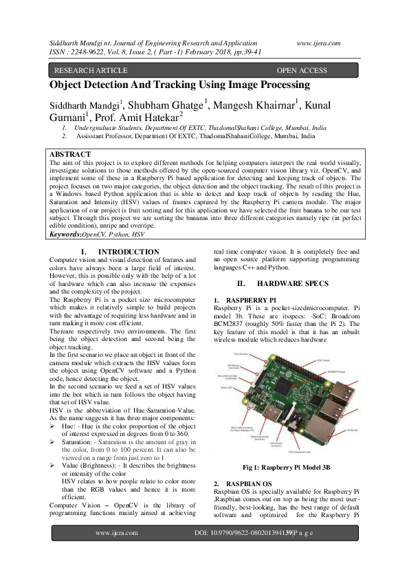 PDF) Object Detection And Tracking Using Image Processing | IJERA