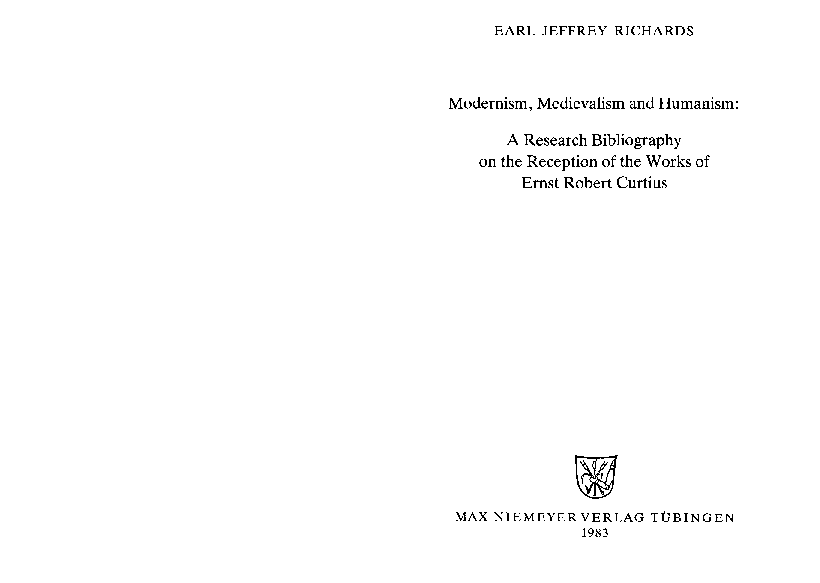 PDF) Modernism, Medievalism and Humanism: A Research