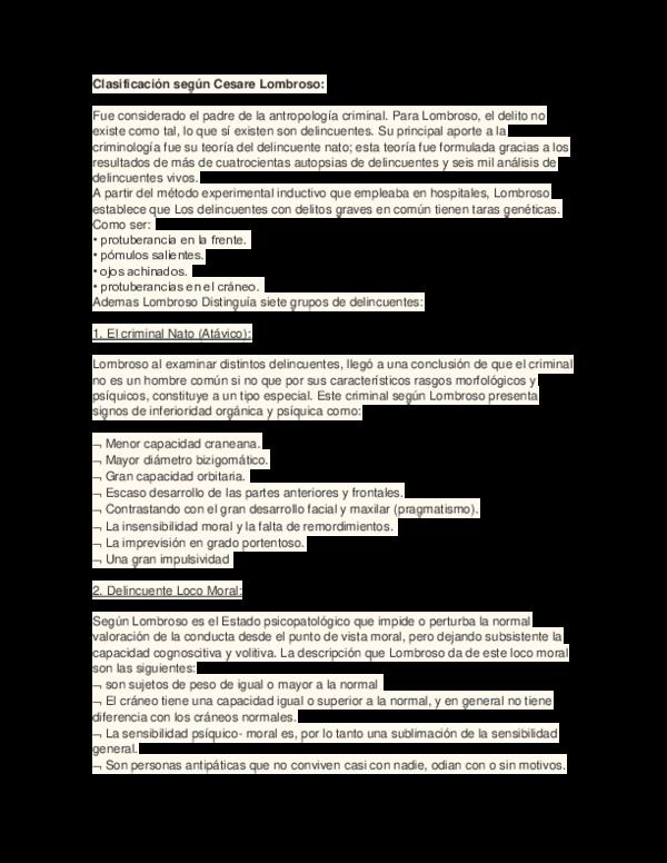 Doc Clasificación Según Cesare Lombroso Gael Casasolaa Academia Edu