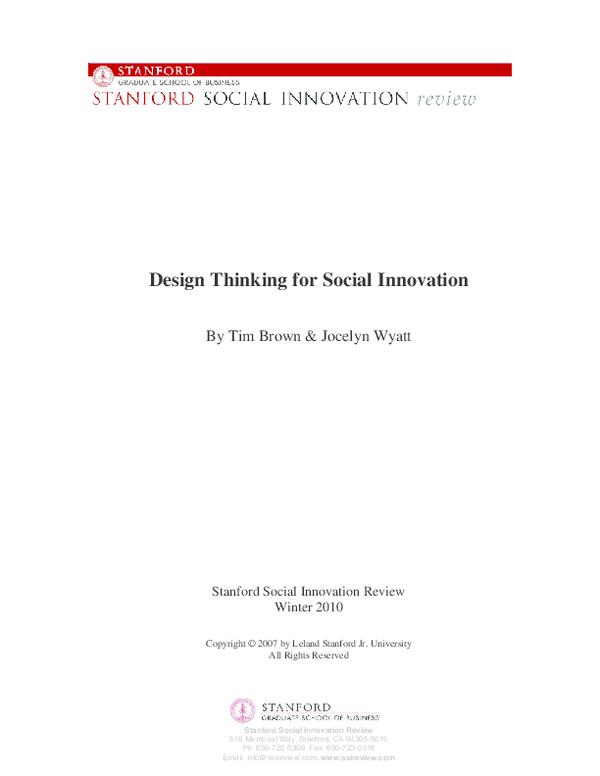 PDF) Design Thinking for Social Innovation : Tim Brown and Jocelyne