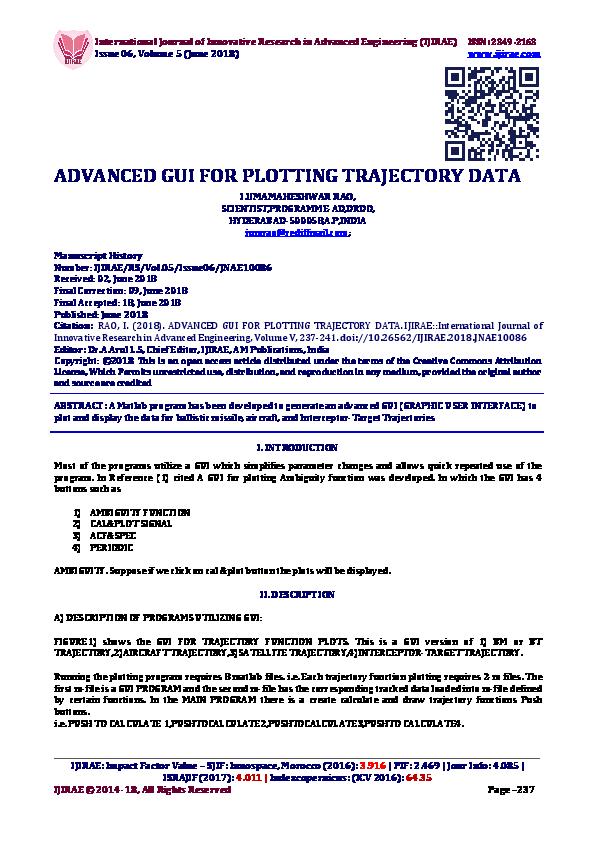 PDF) ADVANCED GUI FOR PLOTTING TRAJECTORY DATA | IJIRAE