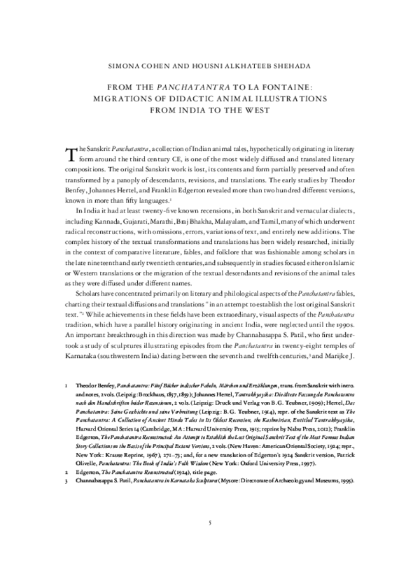 PDF) Panchatantra pdf _AA_76-2 pdf | simona Cohen and Housni