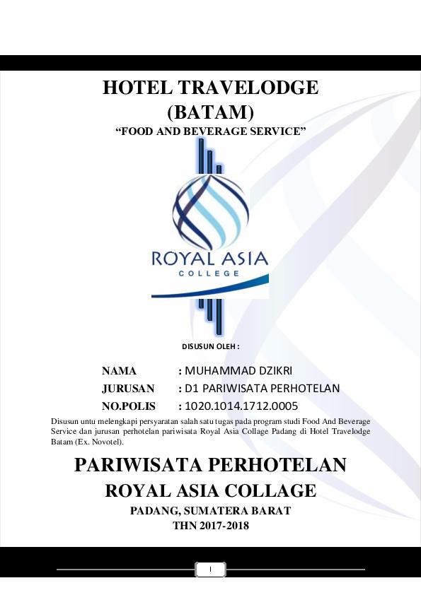 Doc Laporan Hasil Magang Hotel Travelodge Batam Food And Beverage Service Disusun Oleh Zikri Muhammad Academia Edu