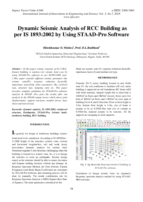 PDF) Dynamic Seismic Analysis of RCC Building as per IS 1893
