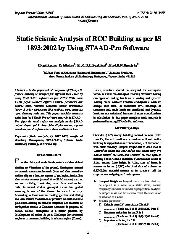 PDF) Static Seismic Analysis of RCC Building as per IS 1893