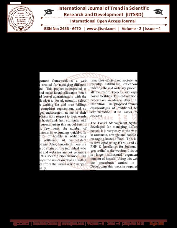PDF) Hostel Management System   International Journal of