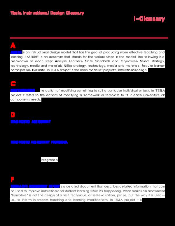 PDF) Tesla Instructional Design Glossary i-Glossary | Maria