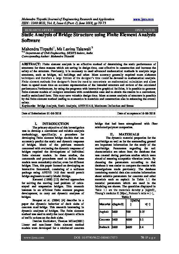 PDF) Static Analysis of Bridge Structure using Finite