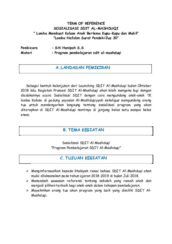 Doc Term Of Reference Sosialisasi Sdit Al Mashduqi Lomba