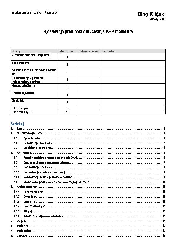 Popis kriterija za upoznavanje