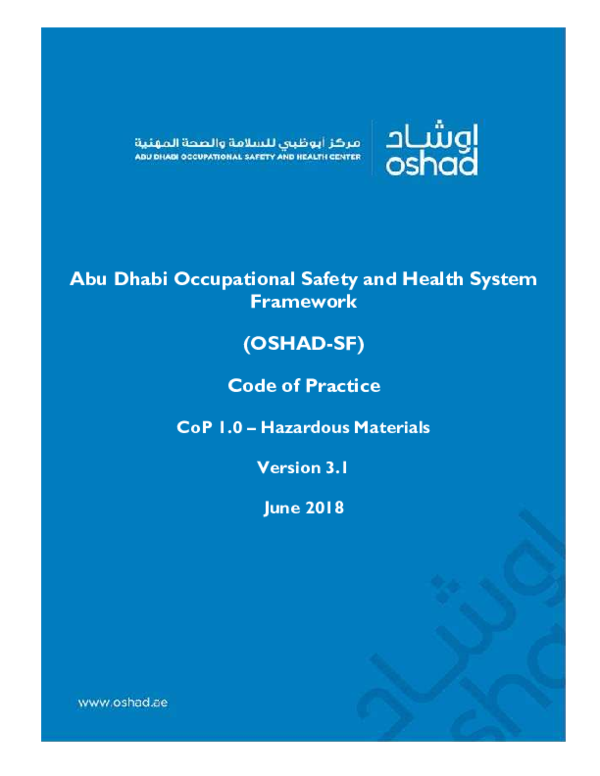 PDF) Abu Dhabi Occupational Safety and Health System