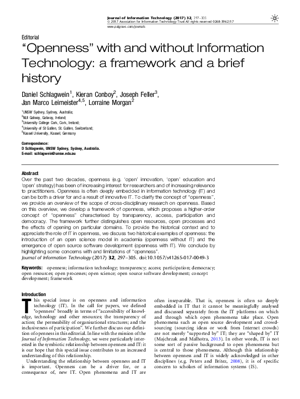 PDF) 'Openness' With and Without Information Technology: A Framework