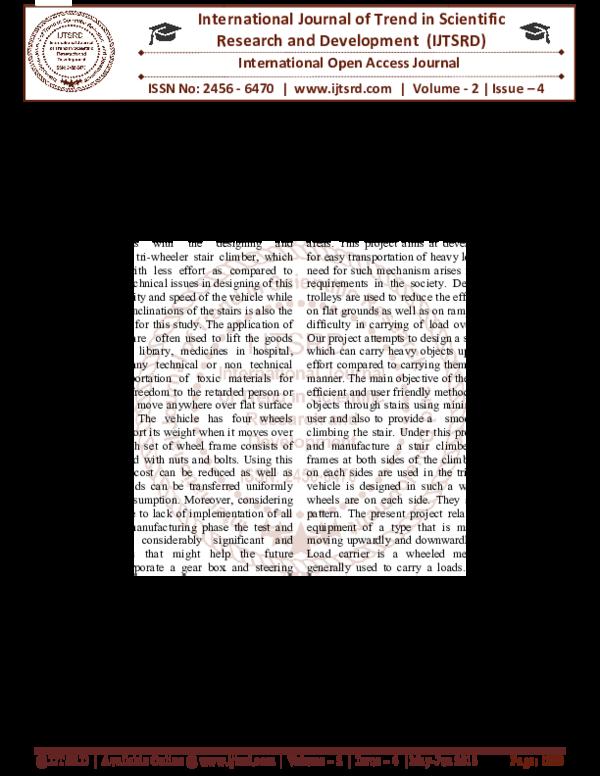 PDF) Tri-Wheeler Stair Climber   International Journal of Trend in