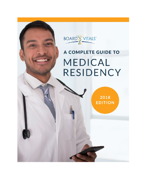 PDF) A Complete Guide To Medical Residency - 2018 Edition