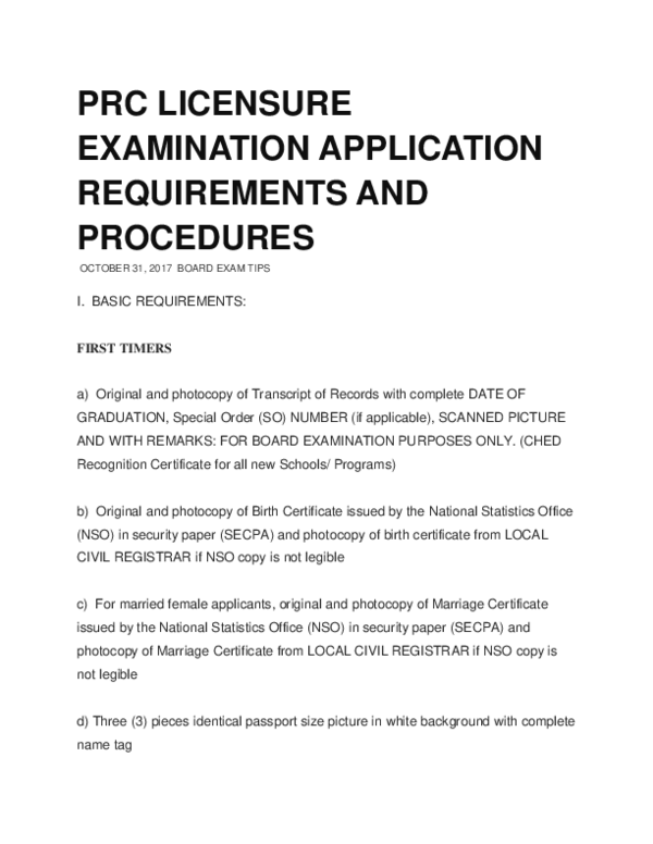 DOC) PRC LICENSURE EXAMINATION APPLICATION REQUIREMENTS AND