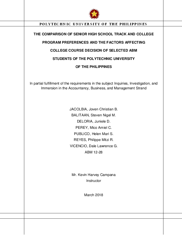 PDF) The Comparison of Senior High School Track and College