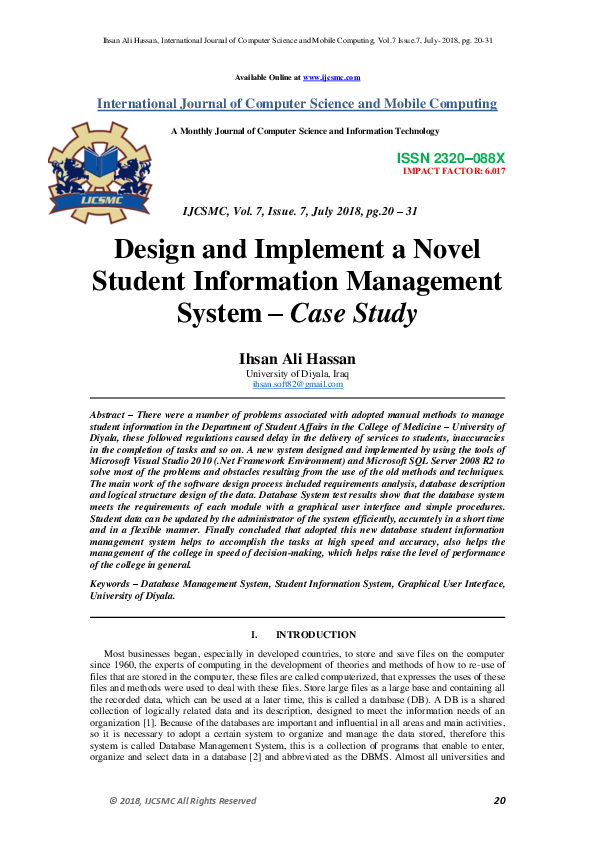 Pdf Design And Implement A Novel Student Information Management System Case Study Ijcsmc Journal And Ihsan Hassan Academia Edu