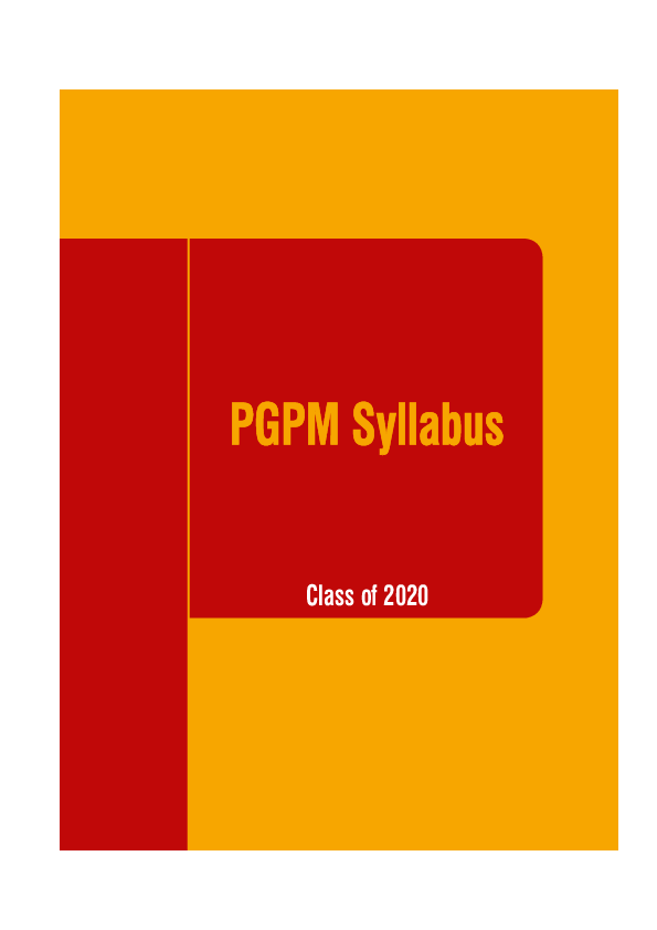 PDF) PGPM Syllabus Class of 2020 | Biswajit samantasinghar