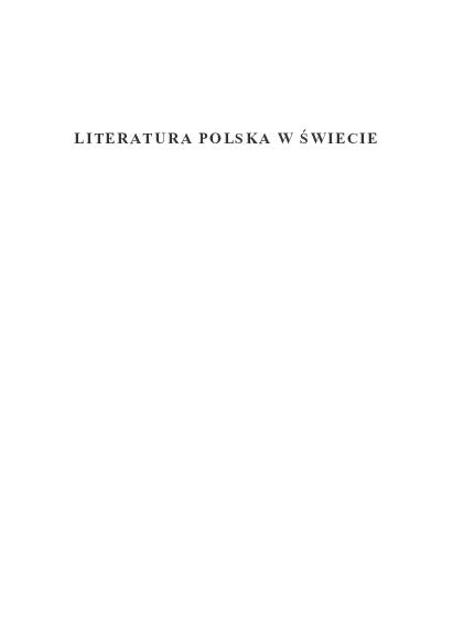Pdf Barańczak Postscriptum Ed By R Cudak K Pospiszil