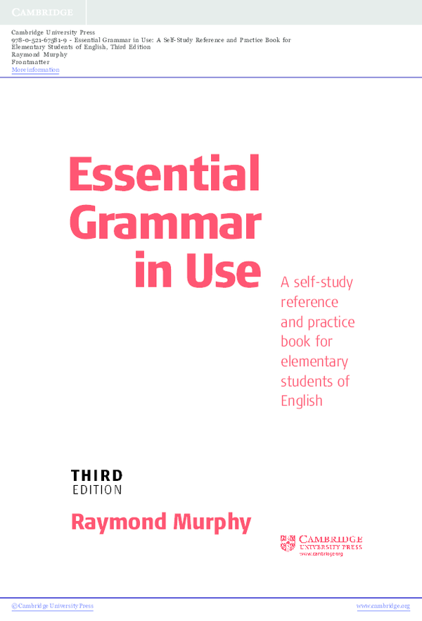 PDF) Essential Grammar in Use A self-study reference and