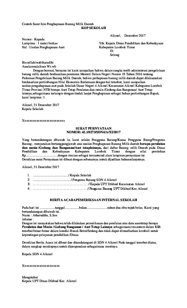 Pdf Contoh Surat Izin Penghapusan Barang Milik Daerah