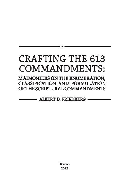 PDF) Albert D  Friedberg, *Crafting the 613 Commandments