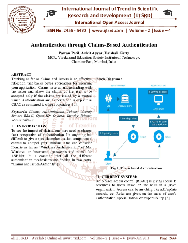 PDF) Authentication through Claims-Based Authentication