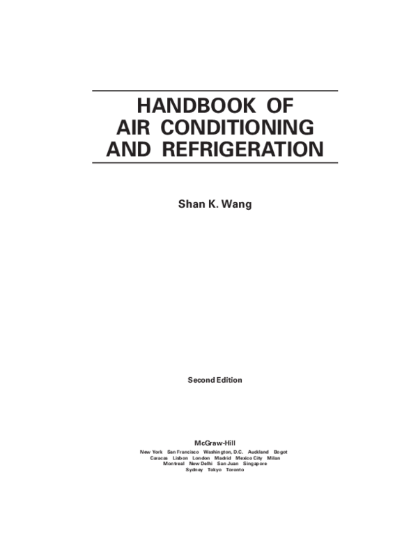 Pdf Handbook Of Air Conditioning And Refrigeration 2 Prajith Krishnan Academia Edu