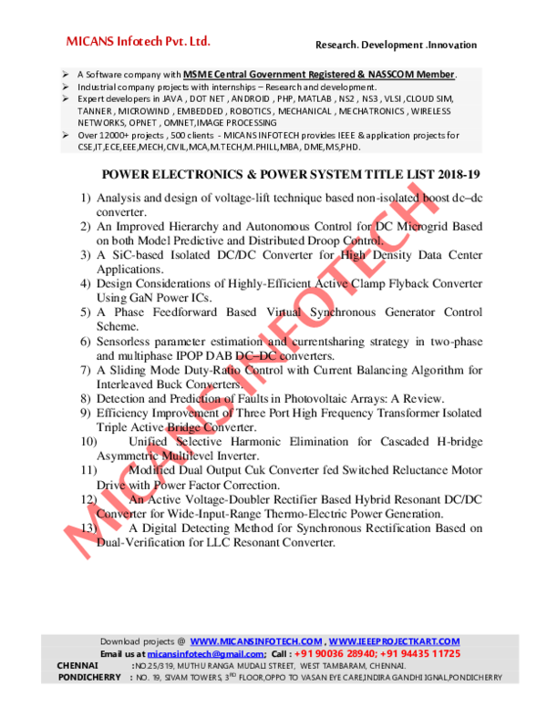 PDF) MICANS INFOTECH_POWER ELECTRONICS &POWER SYSTEM_TITLES_2018-19